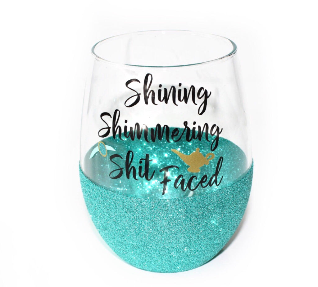 Shit Faced Glitter Glass