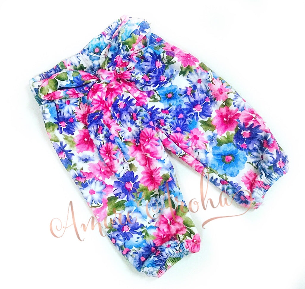 Pink Floral Harem Pants with matching Headwrap