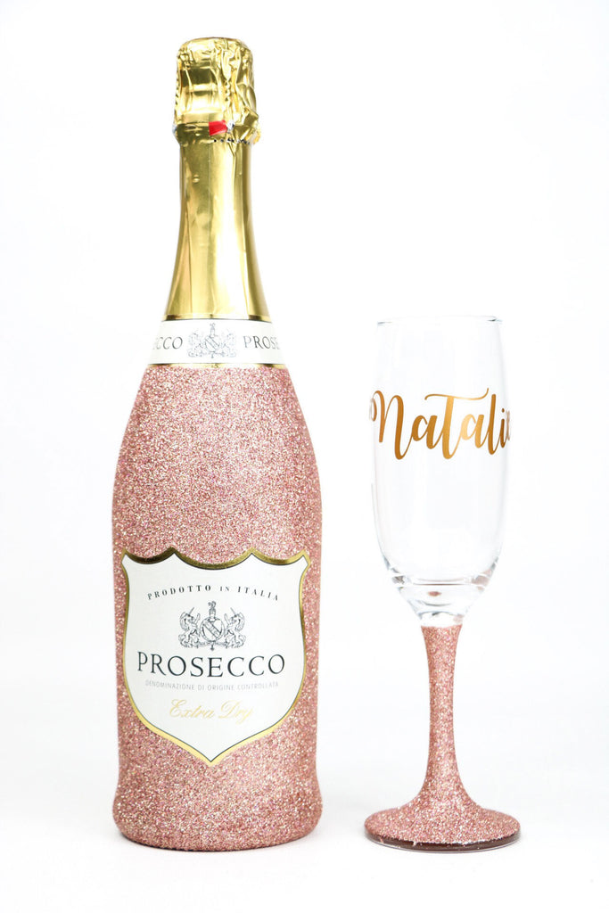 Prosecco Bottle and Glass Set