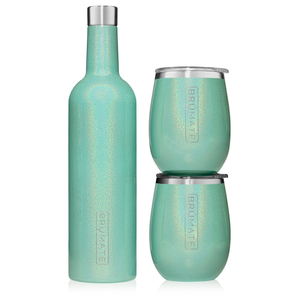 Winesulator + 2 Uncork'd XL Wine Glasses/Lid | GLITTER AQUA BLUE
