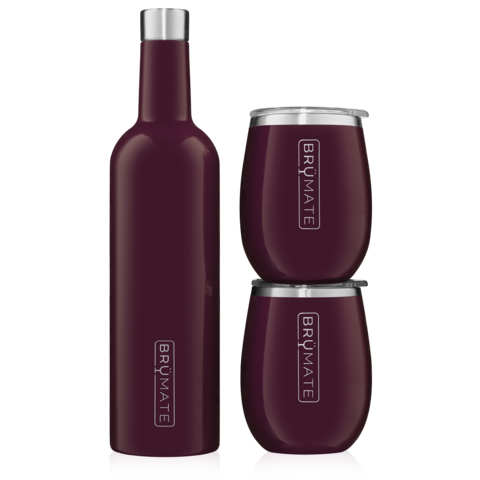 WINESULATOR + 2 UNCORK'D XL WINE TUMBLERS/LIDS | PLUM