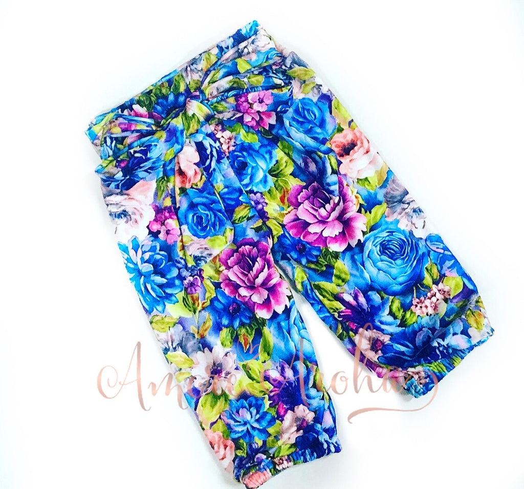 Blue Floral Harem Pants matching Headwrap