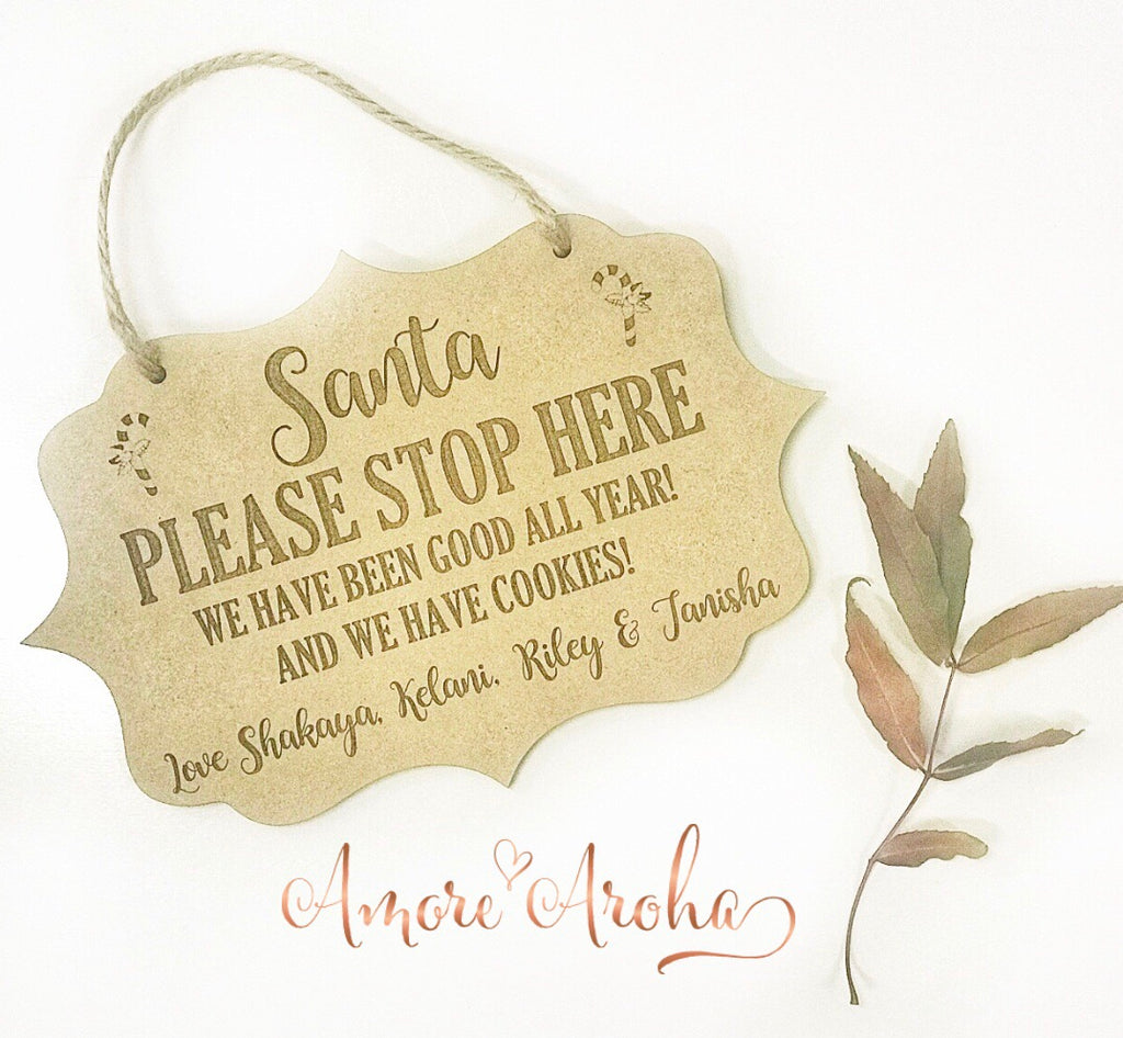 Engraved Door Sign - Santa please stop here