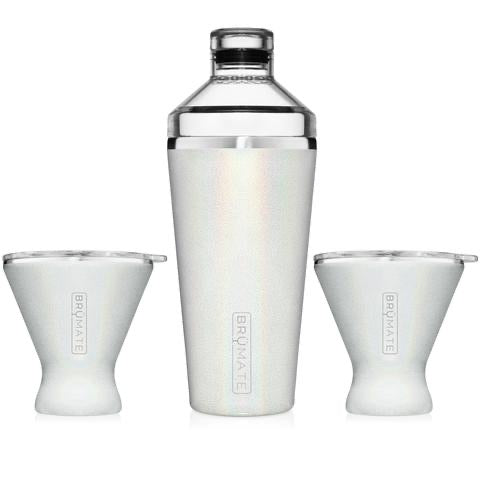 COCKTAIL SHAKER + 2 MARGTINI 10OZ TUMBLERS/LIDS | GLITTER WHITE