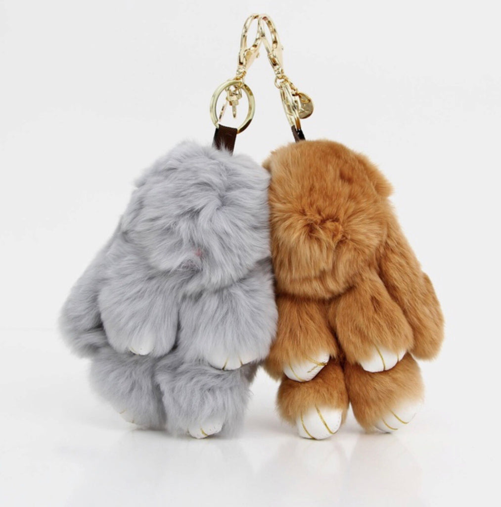 Fluffy Bunny Keyring - Brown