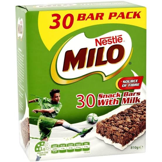Milo Energy Snack Bars W/ Milk 30 x 27G