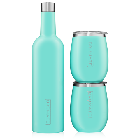 WINESULATOR + 2 UNCORK'D XL WINE TUMBLERS/LIDS | AQUA BLUE