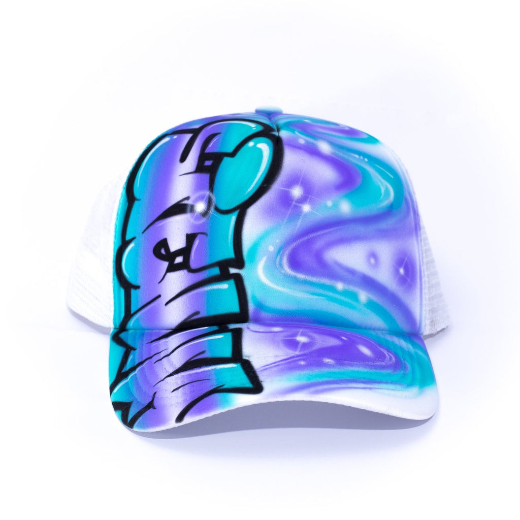 CUSTOMISE - Graffiti Side Swirl Trucker - Purple & Aqua