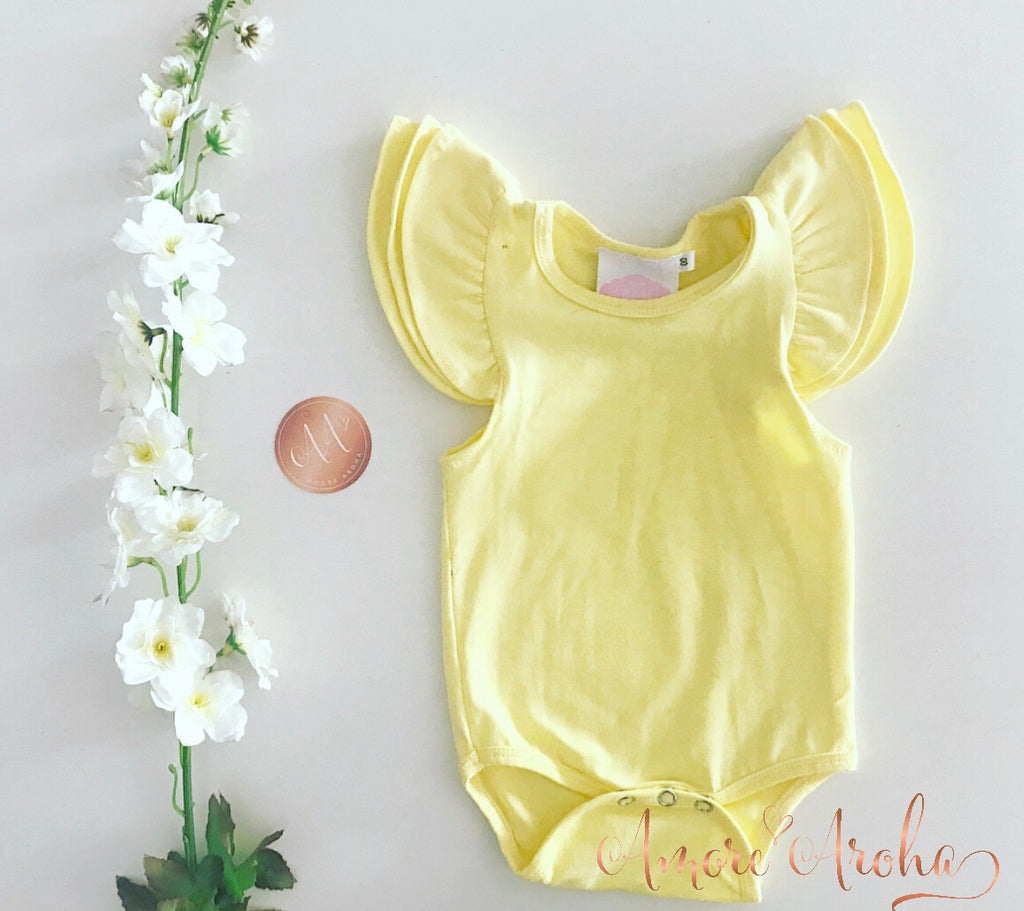 Flutter Romper - Yellow