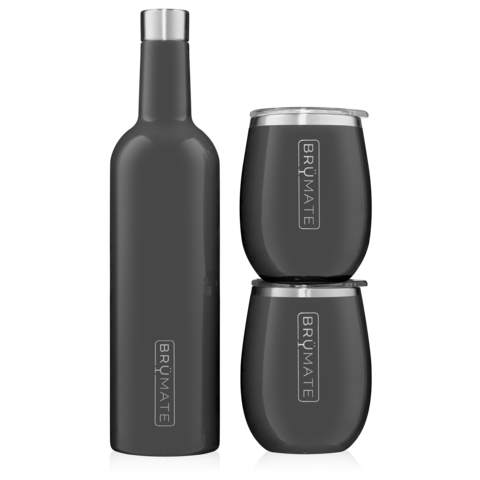 WINESULATOR + 2 UNCORK'D XL WINE TUMBLERS/LIDS | CHARCOAL