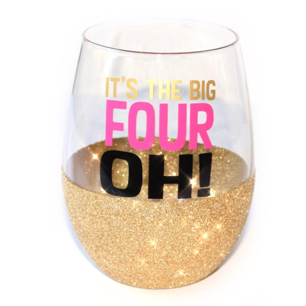 Birthday Glitter Glass