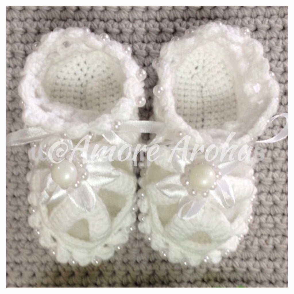 Pearl Crochet Baby Shoes