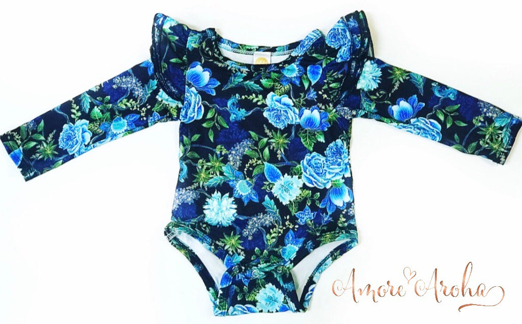 Long Sleeve Flutter Romper - Blue Floral