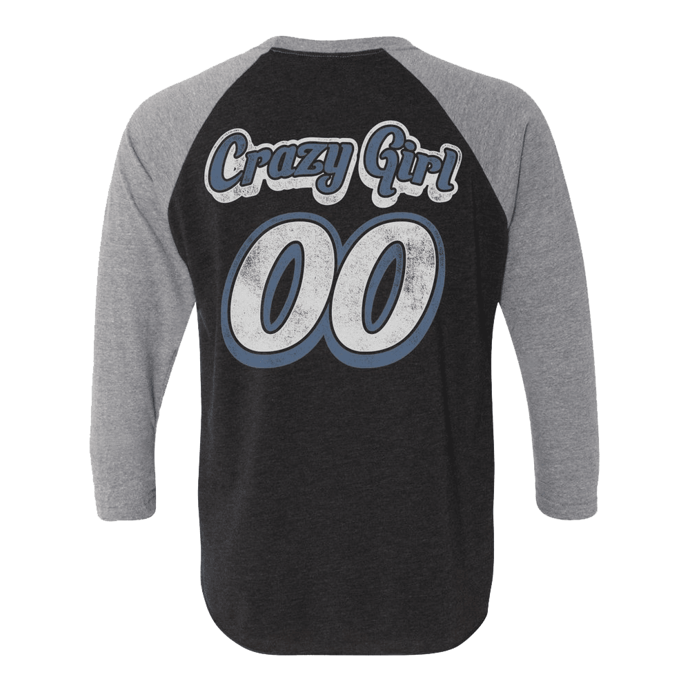Black & Gray Crazy Girl Raglan