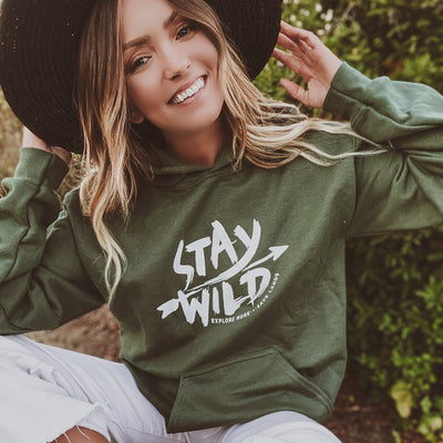 Stay Wild Hoodie 18500 Lands Military Green S