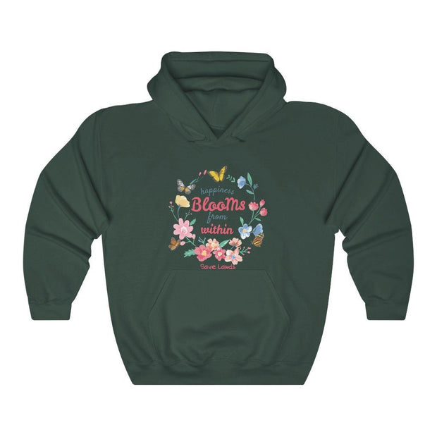 Happiness Blooms Hoodie Hoodie Printify Forest Green S