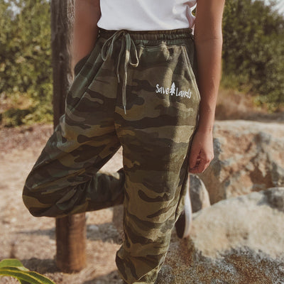 Green Camo Fleece Joggers IND20PNT - FOREST CAMO Lands S