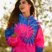 Simple White Logo Flo Blue & Pink Tie Dye Hoodie 8777 - FLO BLUE AND PINK Lands S