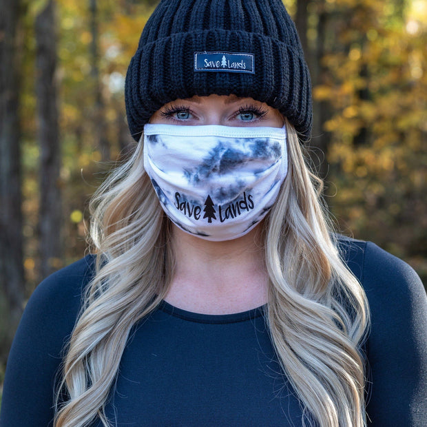 Simple Black Logo White Tie Dye Mask 95295 - CRYSTAL WASH WHITE Lands