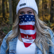 Simple White Logo USA Flag Bandana 94195 - USA FLAG Lands