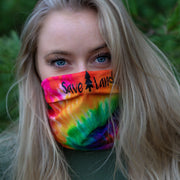 Simple Black Rainbow Tie Dye Gaiter Face Mask 94295 - RAINBOW TIE DYE Lands