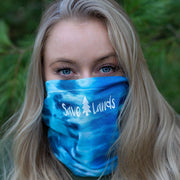 Simple White Logo Ocean Tie Dye Gaiter Face Mask 9411 - BLUE OCEAN Lands