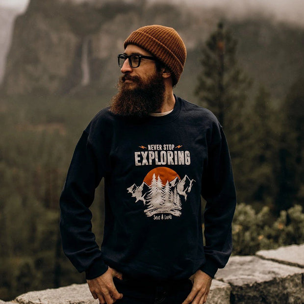 Men's Never Stop Exploring Crewneck Sweatshirt 18000 Lands