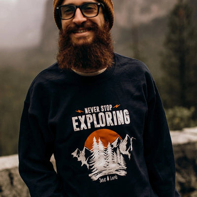 Men's Never Stop Exploring Crewneck Sweatshirt 18000 Lands Navy L