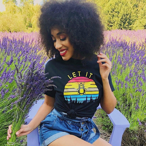 Sunset Let It Bee Tee 5000 Lands Black S
