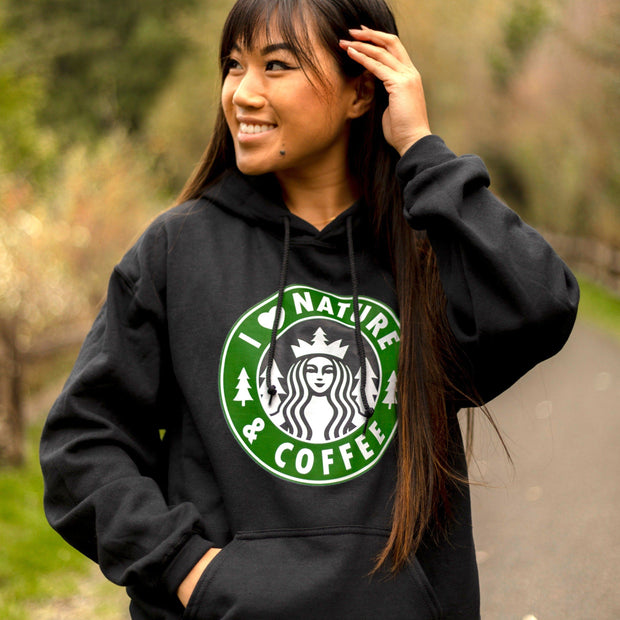 I Love Nature & Coffee Hoodie 18500 Lands S Black
