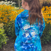 Better World Multi Blue Tie Dye Hoodie (Back Print) 8777 - MULTI BLUE Lands