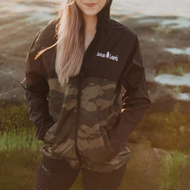 Black & Camo Save Lands Wind Breaker Outerwear Lands S