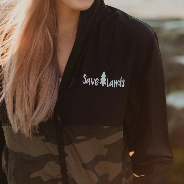 Black & Camo Save Lands Wind Breaker Outerwear Lands