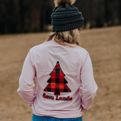 Light Pink Red Plaid Tree Long Sleeve (Back Print) 2400 Lands Light Pink S