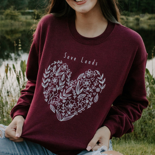 Botanical Heart Crewneck 18000 Lands Maroon S