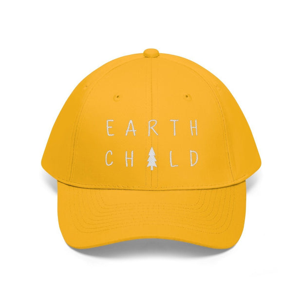Earth Child Hat (White Text) Hats Printify Gold One size