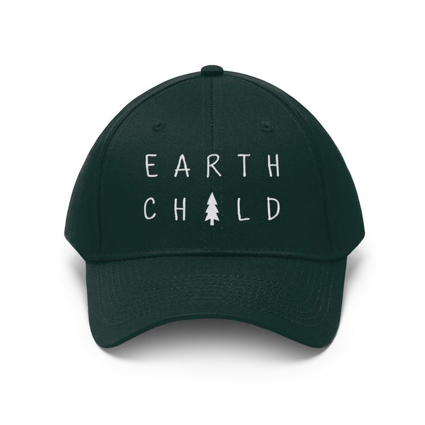 Earth Child Hat (White Text) Hats Printify Forest Green One size