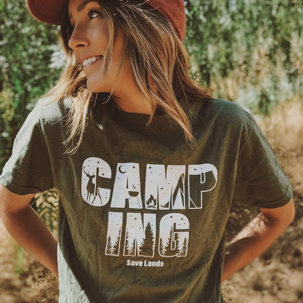 Camping Silhouette Tee 5000 Lands S Military Green