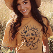 Black Print Sun & Moon Tee IC47MR Lands Mustard S