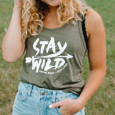 Stay Wild Tank Top 8430 Lands S Military Green