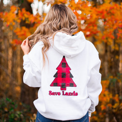 White Red Plaid Tree Hoodie (Back Print) 18500 Lands