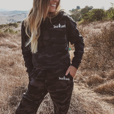 Black Camo Fleece Cropped Hoodie & Joggers Set AFX64CRP / IND20PNT SET - BLACK CAMO Lands S