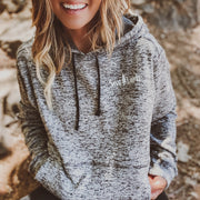 Simple White Badge Charcoal Fleck Hoodie 8613 - CHARCOAL FLECK Lands