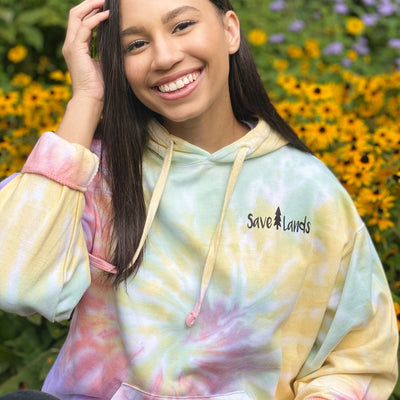 Simple Black Logo Zen Rainbow Tie Dye Hoodie 8777 - ZEN RAINBOW Lands S