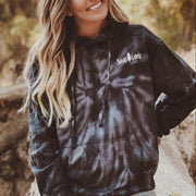Simple White Logo Black Tie Dye Hoodie 8777 - SPIDER BLACK Lands S