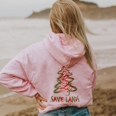 Light Pink Red & Green Christmas Tree Hoodie (Back Print) 18500 Lands Light Pink S