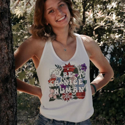 Be A Nice Human Racerback Tank 1533 Lands White S