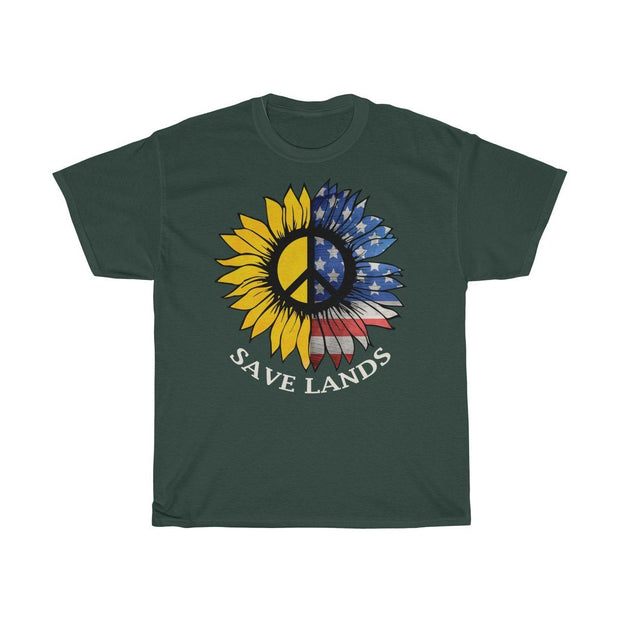 American Sunflower Tee T-Shirt Printify Forest Green S