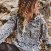 Simple White Badge Charcoal Fleck Hoodie 8613 - CHARCOAL FLECK Lands S