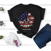 American Peace Sunflower Front Print Tee 5000 Lands Black L